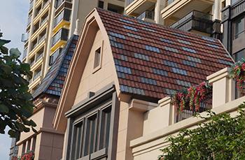 瓦纳尔彩石金属瓦斜坡屋面安装